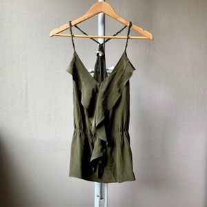 Matty M Green Silk Tank Top Ruffle Size S